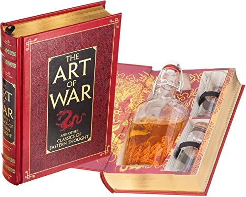 Mini-Bar Hollow Book with Flask & Shot Glasses - The Art of War by Sun Tzu (Leather-bound) (Magnetic Closure)