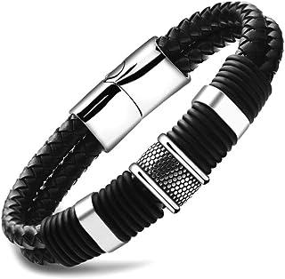 Fashion Bracelet for Men Leather Bracelet Stainless Steel...