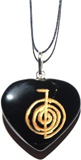 Healing Crystals India Usui Reiki Power Symbol Engraved Onyx Heart Crystal Pendant Cho Ku Rei Self Confidence