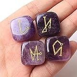 ZXCZXC Amatista Natural/Cuarzo de Rosa/Cuarzo de Roca/Tigre Ojo Grabado Reiki Archangel Symbols Palm Stones 4pcs (Color : 4pcs Amethyst)