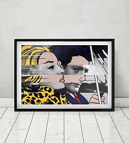 Roy, Lichten-stein's In The Car & Marcello, Mastroianni, with Anita, Ekberg, In La Dolce, Vita, Original Collage Artwork Available As Poster | Poster No Frame Board for Office Decor, Best Gift for