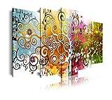 DekoArte 527 - Cuadros Modernos Impresión de Imagen Artística Digitalizada | Lienzo Decorativo para Salón o Dormitorio | Estilo Abstractos Arte Árbol de la Vida Gustav Klimt | 5 Piezas 200x100cm XXL