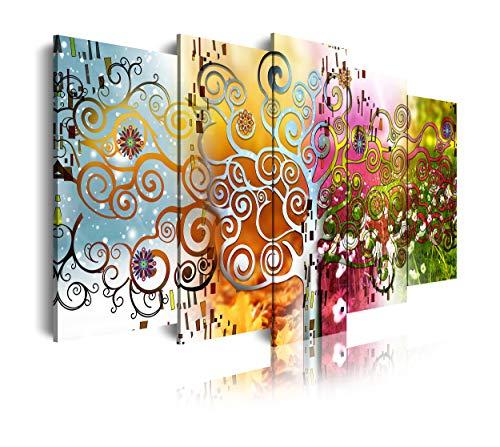DekoArte - Cuadros Modernos Impresión de Imagen Artística Digitalizada | Lienzo Decorativo Para Tu Salón o Dormitorio | Estilo Abstractos Arte Árbol de la Vida Gustav Klimt | 5 Piezas 200 x 100 cm XXL