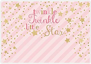 Allenjoy 7x5ft Pink Twinkle Twinkle Little Star Backdrop Gold Glitter Stars Stripe Newborn Girl Portrait Background Baby Shower Happy 1st First Birthday Party Dessert Table Decor Decoration Banner