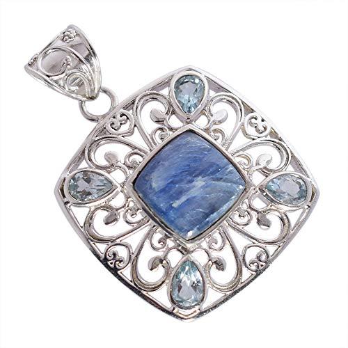 Colgante de piedra de cianita azul natural para collar, topacio azul, plata de ley maciza, joyería bohemia, elegante colgante FSJ-4625