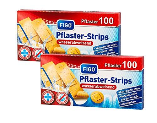varivendo 2 x 100 Figo Pflaster Strips wasserabweisend in 4 verschiedenen Größen Heftpflaster Pflasterbox + Notizblock