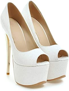 Pink Blue Platform Fish Mouth High Heels For Banquet Wedding Dress Daily (Color : White, Size : 35)