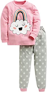 Hopscotch Boys and Girls Cotton Rainbow Print Full Sleeves Top and Pyjama Set in Pink Color