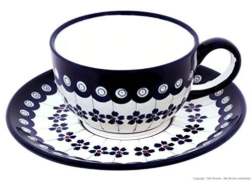 Original Bunzlauer Keramik - klassische Kaffee und Tee Tasse mit Untertasse 0.21 Liter im exklusiven Dekor 166a