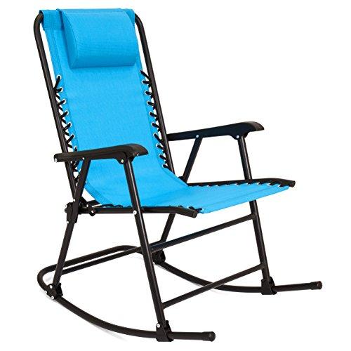 Best Choice Products Foldable Zero Gravity Rocking Mesh Patio Recliner Chair w/Headrest Pillow - Light Blue