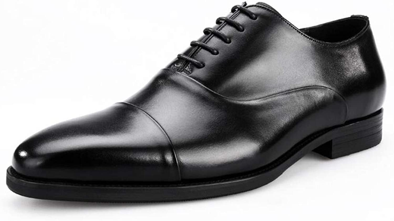 Mans läder skor Square Head Three Joint British Handsydd Handsydd Handsydd Toe Cap läder Business Dress Mans skor läder läder.  billigare