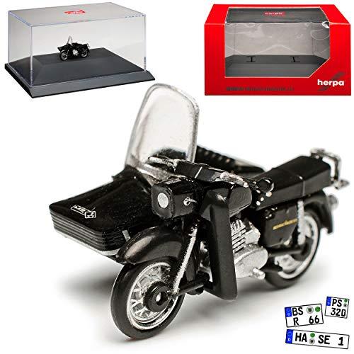 MZ ES 250 / 2 mit Seitenwagen Schwarz 1956-1973 mit Sockel und Vitrine H0 1/87 Herpa Modell Motorrad