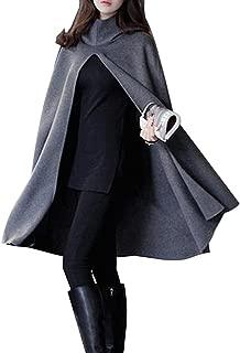 Women Solid Hooded Split Front Poncho Cape Long Cloak Coat Winter Fall