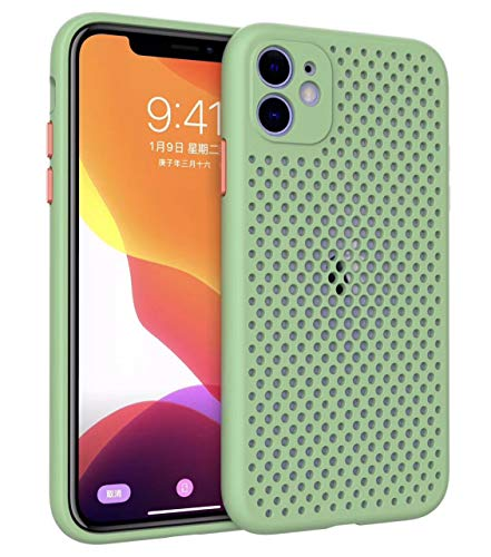 Coque pour iPhone 11 Coque Silicone Liquide Anti-Choc Ultra Mince Solide AIR Cushion Protection Coin Housse pour iPhone 11 (vert clair)