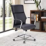 LCH Executive Office Chair Ergonomic High Back PU Leather Thick Headrest and Lumbar Support for Office Chair, Adjustable Swivel Office Desk Chair, Black