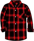 Boys Button Down Flannel Plaid Flannel Cotton Long Sleeves Shirt Tops, Vintage Red Black, 11-12 Years = Tag 180