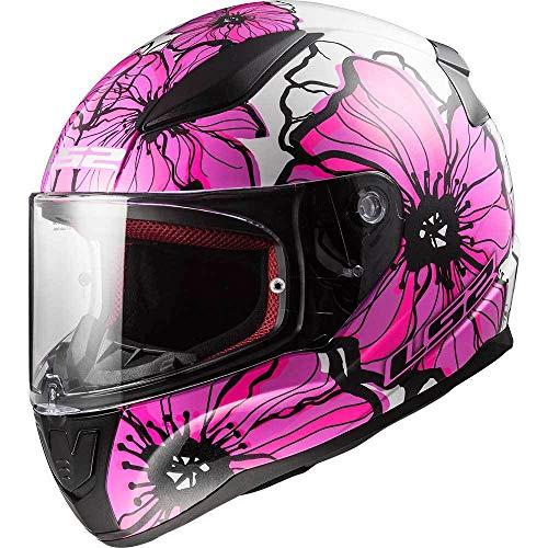 Motorradhelm LS2 FF353 Rapid Integralhelm für Motorrad, Roller, Sport, Touring, Vollgesicht, Renn-Helm, Farbe Poppies Pink, XS