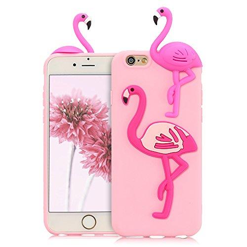 Mosoris Cover iPhone 6S/6 Natale Nuova 3D Cartone Animato Modello Case Ultra Sottile TPU Silicone Satinate Opaco Protettiva Custodia Antiscivolo Flessibile Gomma Gel Caso - Flamingo