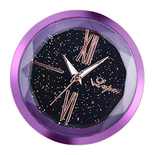 chiwanji Digital Armaturenbrett Uhr Zeituhr Kleben Analog Uhr Klebepad Uhr für Kfz Auto Car - Lila