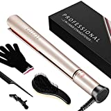 Hair Straightener, Pro Ceramic Flat Iron for Hair with Negative Ion & Dual Voltage, 3D Floating Plates Twist Straightening Iron With Adjustable Temperature (250-450F) Ellesye By Homitt