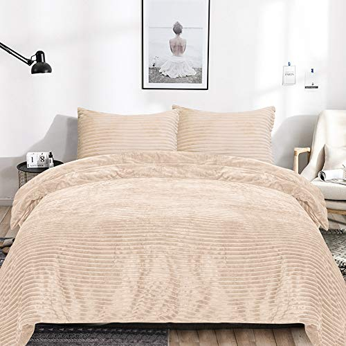 EMME Velvet Flannel Queen Duvet Cover Set 3 Pieces Reversible Bed Blanket Fashion Striped Comforter Cover Set with Button Closure Luxury Soft Bedding Set Plush and Warm for Winter Solid (Tan,Queen)