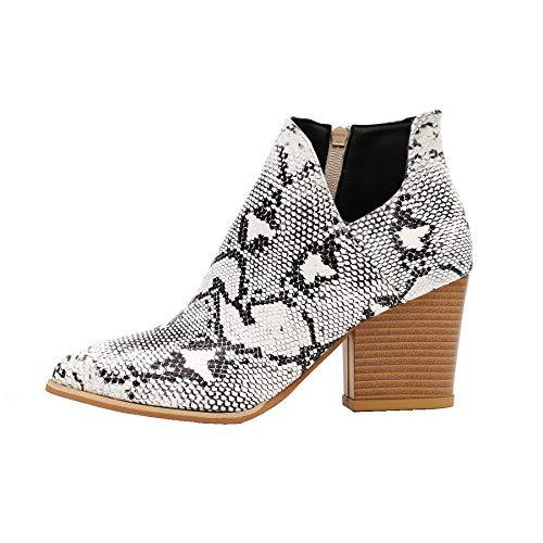 Kiss Me Damen-Stiefeletten, flach, mit flachem Absatz, Leopardenmuster, runder Zehenbereich, Wildleder-Stiefel, Reißverschluss, Weiá (Schlangenhautmuster), 42 EU