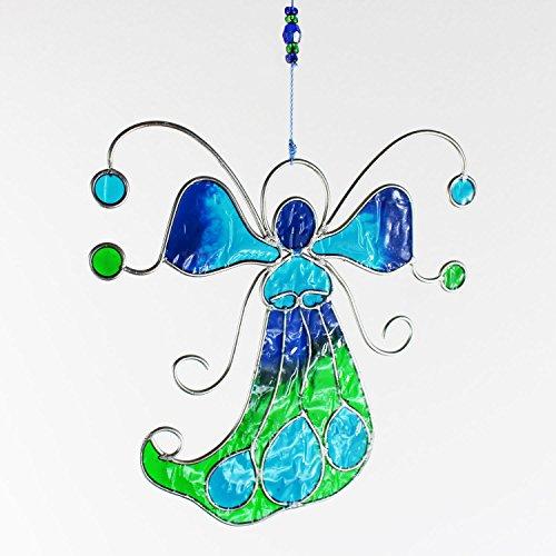 mitienda mit Liebe gemacht Fensterdeko Engel, Fensterschmuck türkis, grün, Bunte Fensterdeko aus Resin, Schutzengel, Wanddeko Deko Wohndeko, Geschenkidee