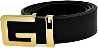 New Arrival Male Cowskin Leather Casual Solid Gold G Buckle Belt Men