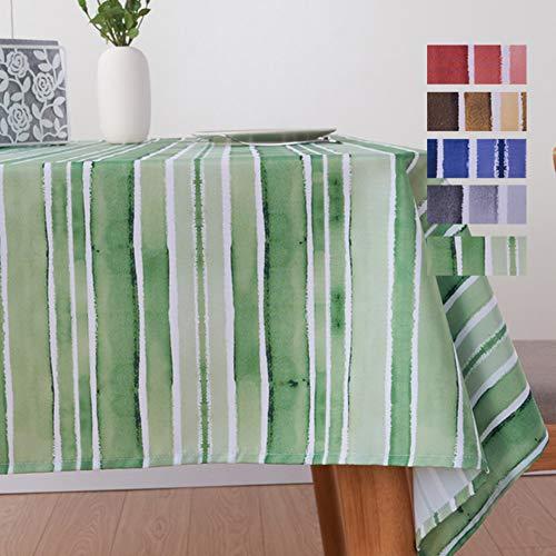 Liveinu Nappe Rectangulaire Tissu de Table Rayure Lavable Entretien Facile Résistant Imperméable Anti-tâche Nappe de Table pour Picnic Cuisine Jardin Terrasse Balcon Vert 130x180cm