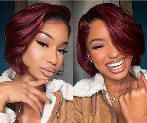 TOOCCI Ombre Color Short Pixie Cut Wig Human Hair For Women T1B/99J Wine Red Brazilian Lace Front Wigs