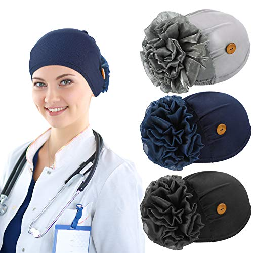 3 Pieces Fall Bouffant Cap with Buttons Elastic Soft Flower Stretch Head Wraps (Black, Gray, Navy Blue)