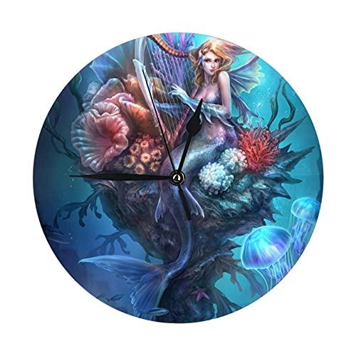 人魚 海物語 掛け時計 電波時計 連続秒針 静音 時計 壁掛け時 大数字見やすい 直径9.84インチ ,ホームベッドルーム キッチン プレゼントオススメ。