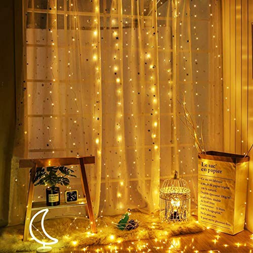 Christmas String Lights 33 Ft 100 Led Fairy String Lights Battery Operated, Outdoor and Indoor Decorative Copper String Lights Wire Lights for Bedroom, Patio, Curtain, Tree, Party, Holiday Decor
