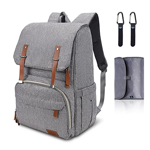 Hafmall Changing Bag Backpack with Changing Mat and Pram Clips, Waterproof Baby Diaper Bag, Large Travel Nappy Rucksack for Mum & Dad