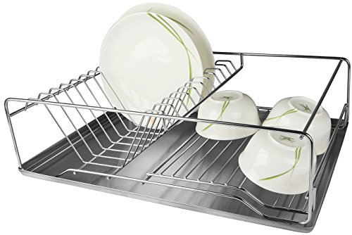 GPCT Stainless Steel Dish Rack & Removable Drain Board. Keeps Utensils, Dishes, Bowls, Spoons, Forks & Knifes Dry & Organized! 12 Dish Slots, Side Cup Slot, Tray, Cutlery Dish Drainer- EASY ASSEMBLY