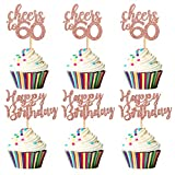 Unimall Pack of 24 Rose Gold Glitter Happy Birthday Cupcake Topper Cheers to 60 Cupcake Food Picks for Celebrating 60th Birthday Sixty Years Old Party Decorations Supply