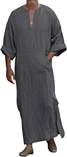 Honiee Men's Caftan V-Neck Short Sleeve Robe Side Split Cotton Long Gown Thobe S-4XL