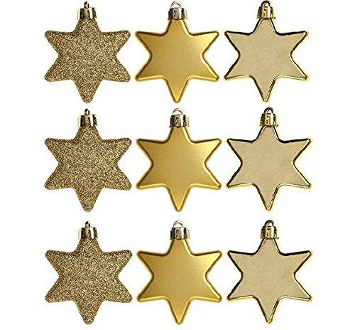 christmasshop PMS Set di 9Decorazioni 6cm Star in PVC Box Gold