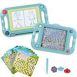 Lavagna Magnetica per Bambini Tavoletta Grafica Bifacciale con Labirinto Equilibrio Palla, Tavolo da Disegno Magnetico Giocattolo Educativo per Pittura e Scrittura Natale Regalo Compleanno per Bambini