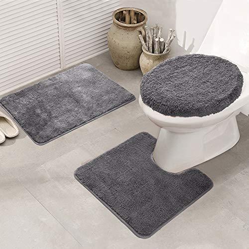 LAOSHIZI Alfombrillas de baño Suave Antideslizante Color sólido Juego de alfombras de baño de 3 Piezas Gris