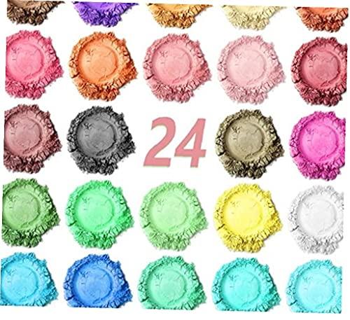 LAANCOO Polvo de Mica 24 Colores de la Resina del Pigmento c