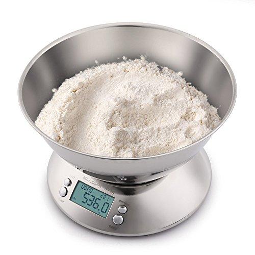 Bilance da cucina digitali Bilance da cucina Bilance in acciaio inossidabile con display LCD a ciotola rimovibile da 5 kg