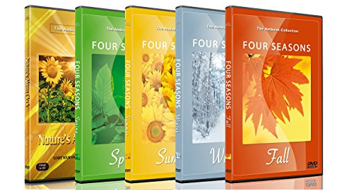 5 Disc Set Relaxing Nature DVD Combo Pack - Scenic Videos of Spring, Summer, Autumn, Winter Seasons - Beaches, Forest, Mountains + Nature's Alarm Clock for Waking up Peacefully all with Nature Sound