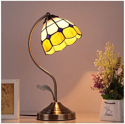 Tiffany Style Lámpara de mesa Shade, base de aleación de lámpara de cristal de 6 pulgadas, luz de noche de protección ocular, lámpara de noche, lámpara de lectura de escritorio, usado en sala de estar
