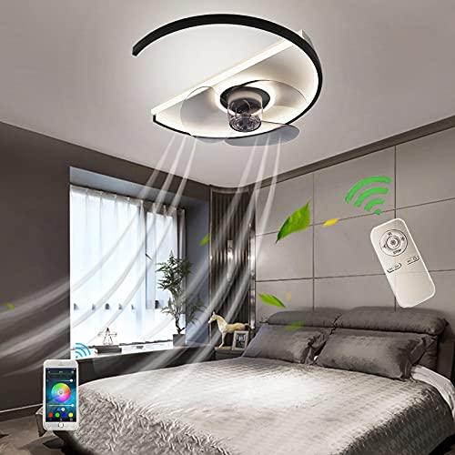 Luces LED De Techo Moderno Ventilador Plafon Dimable Lámpara De Techo Con Ventilador Silencioso y Mando A Distancia Luz De Techo Para Oficina Comedor Dormitorio Sala Iluminación Hogar Negro Fan