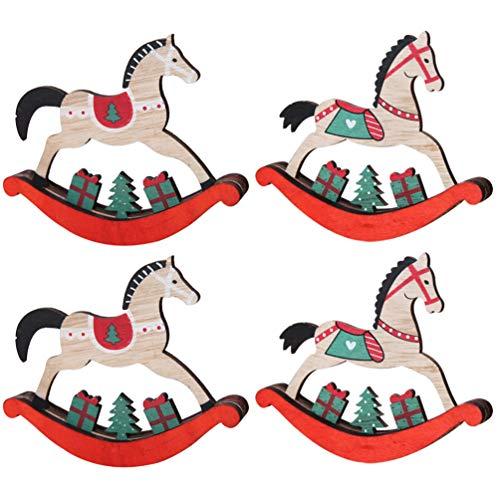 TOYANDONA 4 Unids Navidad Caballo Mecedora de Madera Mini Caballo Mecedora Juguete Mesa de Madera...