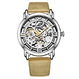 Stuhrling Original Watches for Women Automatic Watch - Skeleton Watch Self Winding Womens Dress Watch Leather Watch Strap Mechanical Wrist Watch for Woman Ladies Watch Collection (Beige)