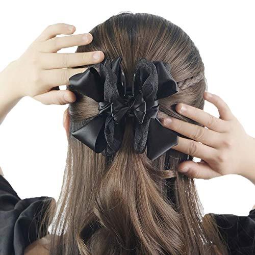 挟むだけ!不器用さんでもできる簡単ヘアアレンジ バンスクリップ ワニクリップ 髪 留め 髪留め ヘアアクセ ヘアー アレンジ アクセサリー まとめ髪 髪飾り 飾り リボン バンス クリップ 髪どめ 冠婚葬祭 ブラック Berrylily