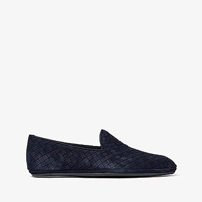 Bottega Veneta Intrecciato Suede Loafer (Dark Navy) Men