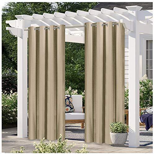 Outdoorvorhänge Wasserabweisend 2er Set Blickdicht Gardine für Terrasse Balko Vorhang mit Ösen Sonnenschutz Thermo Verdunklungsvorhänge Aussenvorhang (Farbe : F, Größe : 2 Stück(B134*H210cm))